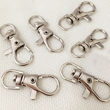 2017 New 10Pcs/Pack 32mm  Silver Gold Swivel Lobster Clasp Clips Hook Keychain Split Key Ring Hot