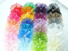 "Vintage Lace Pearl Center Flower,perfect for girl Hair Accerssiory 3.5~4"" in width 28 colors 1000pcs/lot(China)"