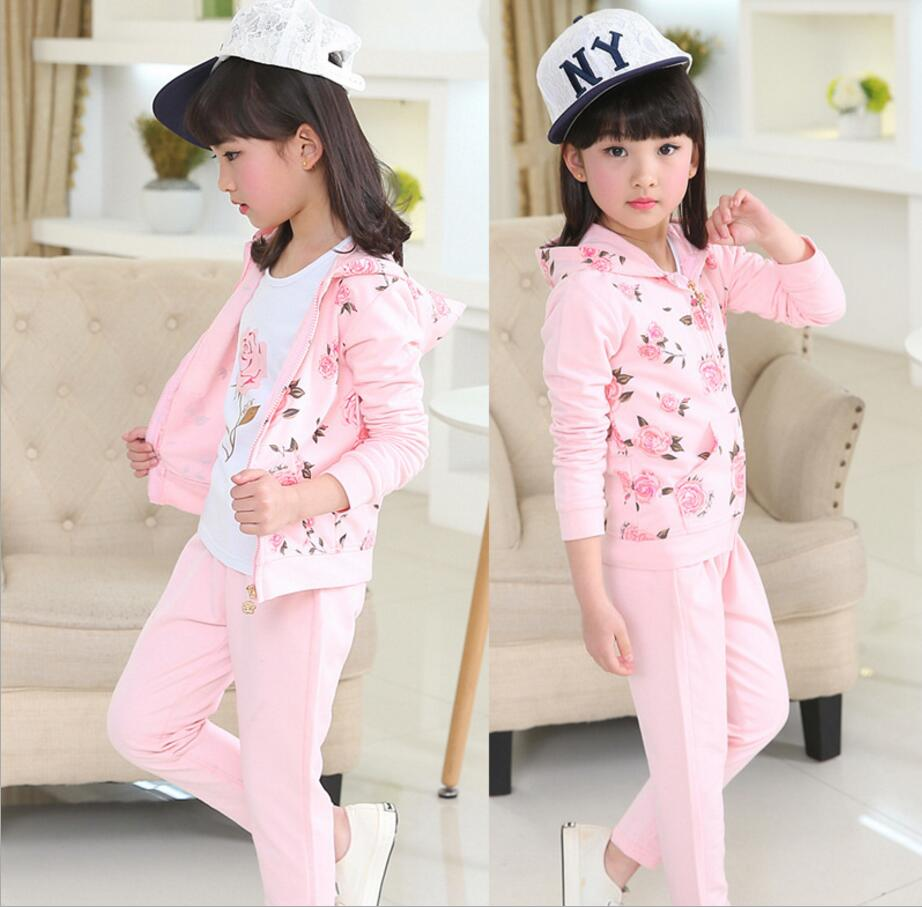 2017 hot childrens clothing Three pcs sets 4-16-year-old girl set Rose printing labeling sports leisure suit hooded HW1070<br>