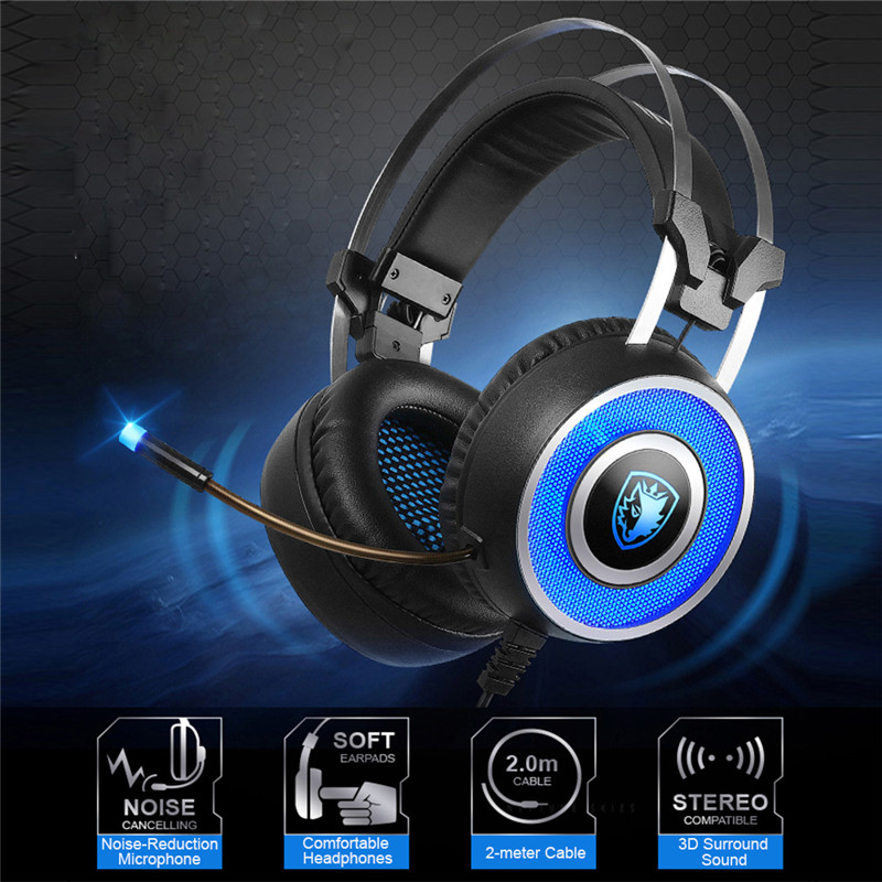 Original SADES A9 Gaming Headset USB Over Ear Gaming Headphones with Microphone 7 colors Breathing LED Lighting Vibration for Pc<br>
