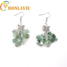 2017 New Vintage Alloy Bowknot style Green chalcedony earrings fashion earrings Birthday Gift Garment Accessories