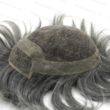 Grey 1B60 Men's Toupee Brazilian Remy Hair Clear Poly Coated Swiss Lace Center Natural Hair H040