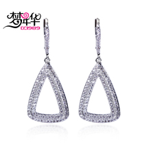 Dreamcarnival1989 Women Hollow Dangle Earrings Triangles Shape Rhodium or Gold-color CZ Paved Mounted Pendientes tipo gota Moda(China)