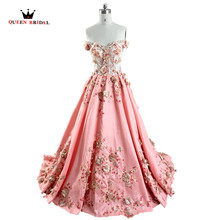 In Stock Good Pirce Ball Gown Appliques Flowers Beading Muslim Luxury Evening Dresses Real Picture Women Party Dress RE08(China)
