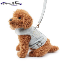 Ortilerri Pet Dog Harnesses Washing Denim Vest Thoracic Dog Vest Type Leashes Dog Chain Pet Walking Lead Chain Pet Clothing