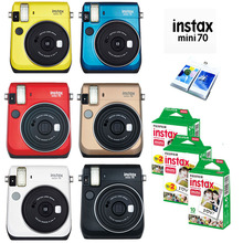 6 Colors Fujifilm Instax Mini 70 Instant Photo Camera Red Black Blue Yellow White Gold + 50 Sheets White Films + Free Album(Hong Kong)