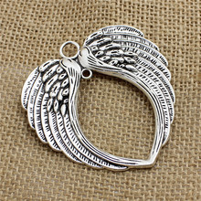 PULCHRITUDE 5 Pcs/lot 65*69mm Vintage Silver Angel Wings Charm Metal Big Angel Wings Charms Pendant For Jewelry Making T0477(China)