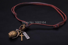 Biker Surfer Beach Vintage Leather Choker Necklace Cooper Grenad Pendant Mens(China)