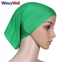 WmcyWell New Fashion Womens Muslim Hijab Ladies Turban Islamic Bonnet Underscarf Inner Cap Solid Rayon Tube Hat Elastic Headwear(China)
