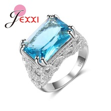 JEXXI High Quality Rectangle Clear Cubic Zircon Blue Crystal Ring Fashion 925 Sterling Silver Wedding Bridal Jewelry Free Ship(China)