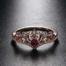1 Pcs Rose Gold Color Crystal Ring Fashion Love Heart Crown Rhinestone Ring for Women Girls Elegant Bridal Wedding Jewelry