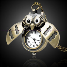 Gold Owl Pocket Watch New Retro Vintage Bronze Pteampunk Quartz Owl Pendant Chain Clock Pocket Watch Hour Antique Brand Relogio