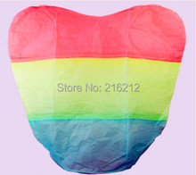New Arrive Rainbow Heart-shaped Paper Flying Chinese Lantern Kongming Light Floating Wedding birthday Party valentines gift