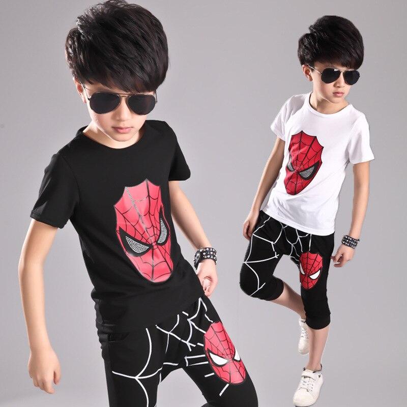 New Summer 2017 Children Clothing set Cotton Character Clothes Kids Boy Girl Spider-man T-shirt+ Pant 2pcs Set 2colors<br><br>Aliexpress