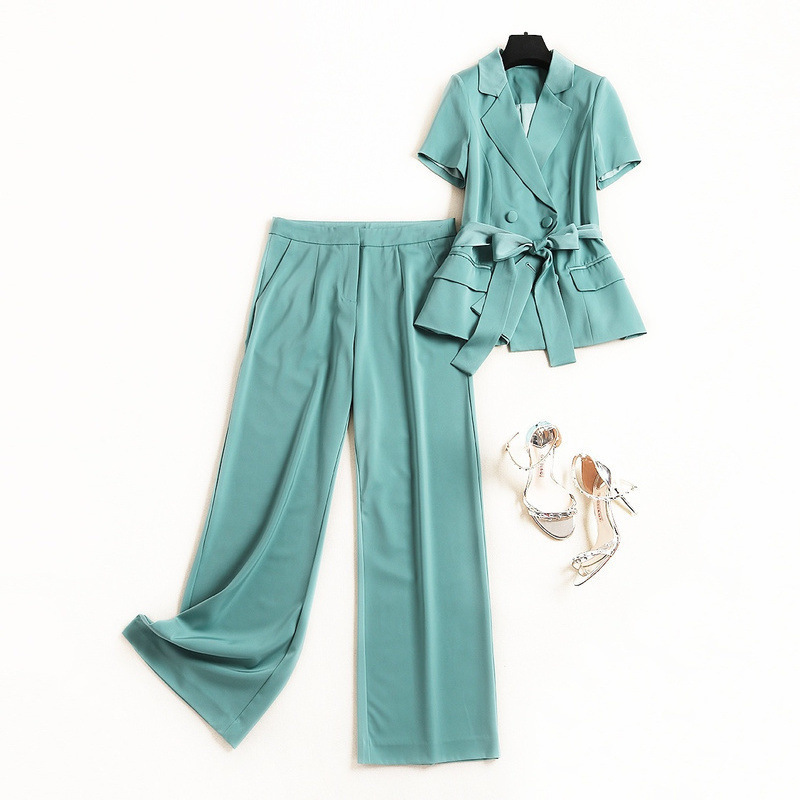 Women double-breasted blazer short sleeve pants suit + elegant solid color two-piece outfits summer 2019