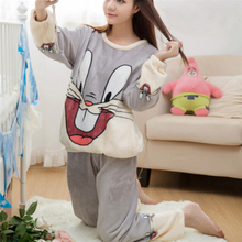 Autumn Winter Women Pajamas Set Cartoon Rabbit Animal Pants Sleepwear Sleep Jacket Pant Sleepwear Warm Nightgown Female M-XXL(China)