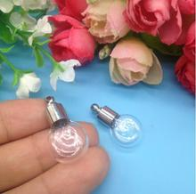 20pcs/lot flat round Miniature Wishing Bottle Glass clear tube Perfume essential oil charm vial necklace DIY pendant SCREW CAP