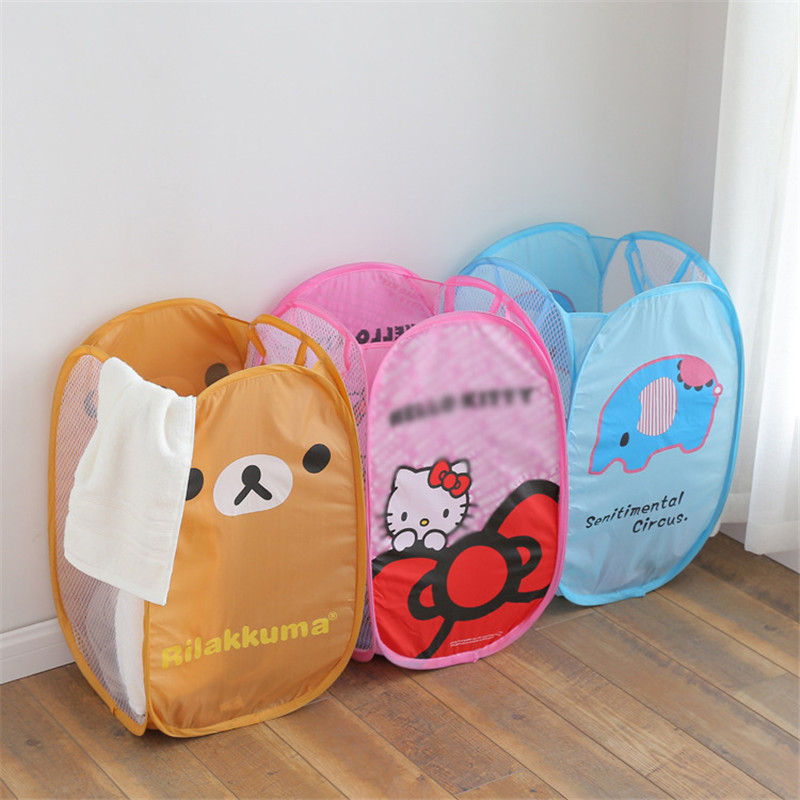 Hello Kitty Laundry Nylon Large Capacity Storage Basket Bucket Dirty Clothes