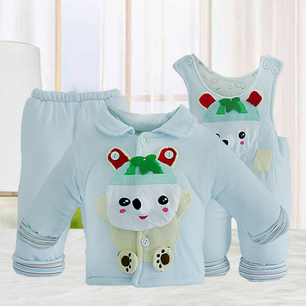 Warm and Comfortable 3Pcs Baby Cotton clothes Baby Cotton Suspender Trousers for Winter Autumn<br>