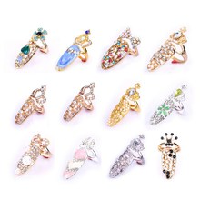 Women Fashion Bowknot Crown Crystal Finger Nail Art Ring Jewelry Fake Nail Art For 12 Types Available Decorations