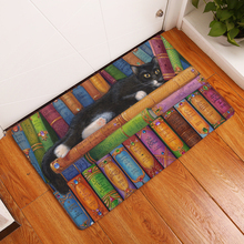 Hyha Rectangle Light Welcome Home Door Mats Funny Lazy Bookshelf Sleeping Cat Pattern Carpets 40*60cm Thin Bathroom Carpets(China)