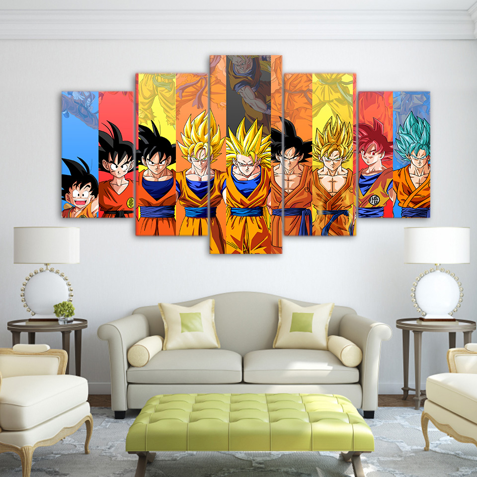 5 piece canvas art dragon ball Z poster Goku modeling canvas painting wall pictures for living room modular ArtSailing up-1480B 2