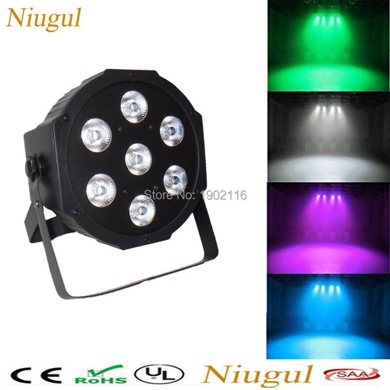 Niugul Ultra Bright LED Flat Par 7x12W RGBW PAR LED Light DMX512 LED Stage Wash Lights for Wedding DJ club Event home Party Show<br>