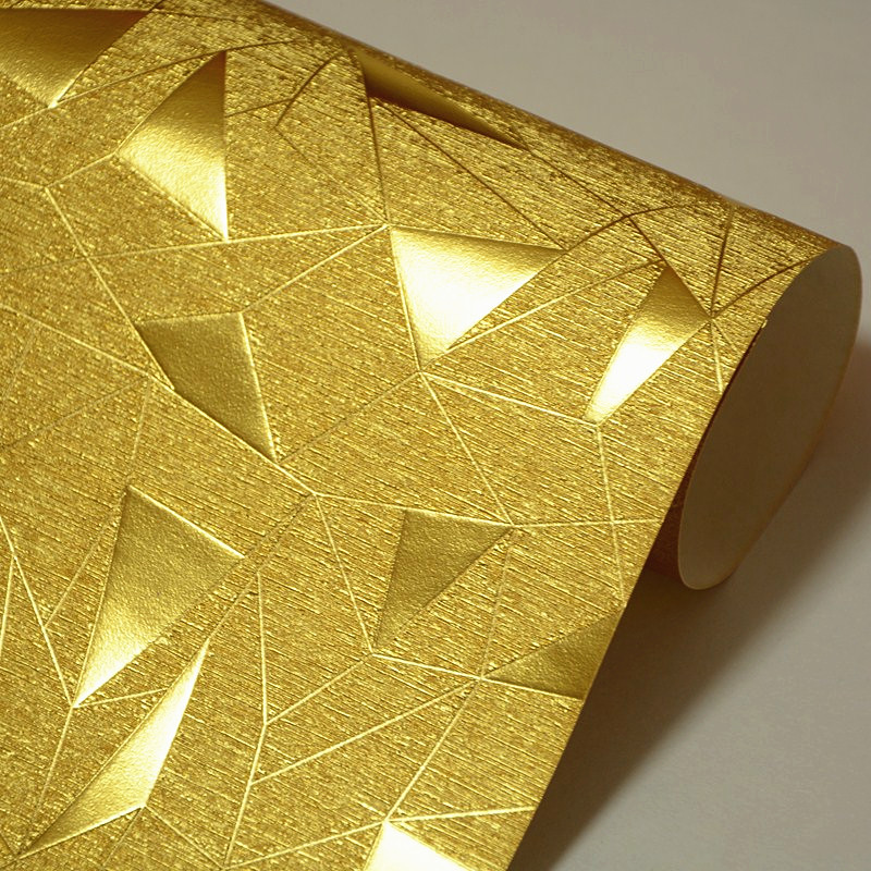 Geometric Pattern Gold Foil Reflective Wallpaper Waterproof Material PVC Embossed Texture KTV Bar Golden Glitter Wall Paper Roll<br>