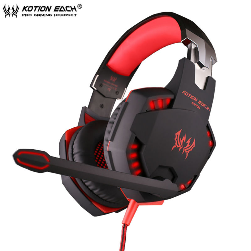 KOTION EACH G2100 Wired Gaming Headphone Earphone Gamer Headset Stereo Sound with Microphone LED Audio Cable for Desktop/PC Game<br>