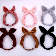 1pc Solid Cotton headband DIY Bow Bunny Ear Hairband Yoga Sweat towel Women Elastic Hairband Coral velvet headwrap Girls Turban(China)