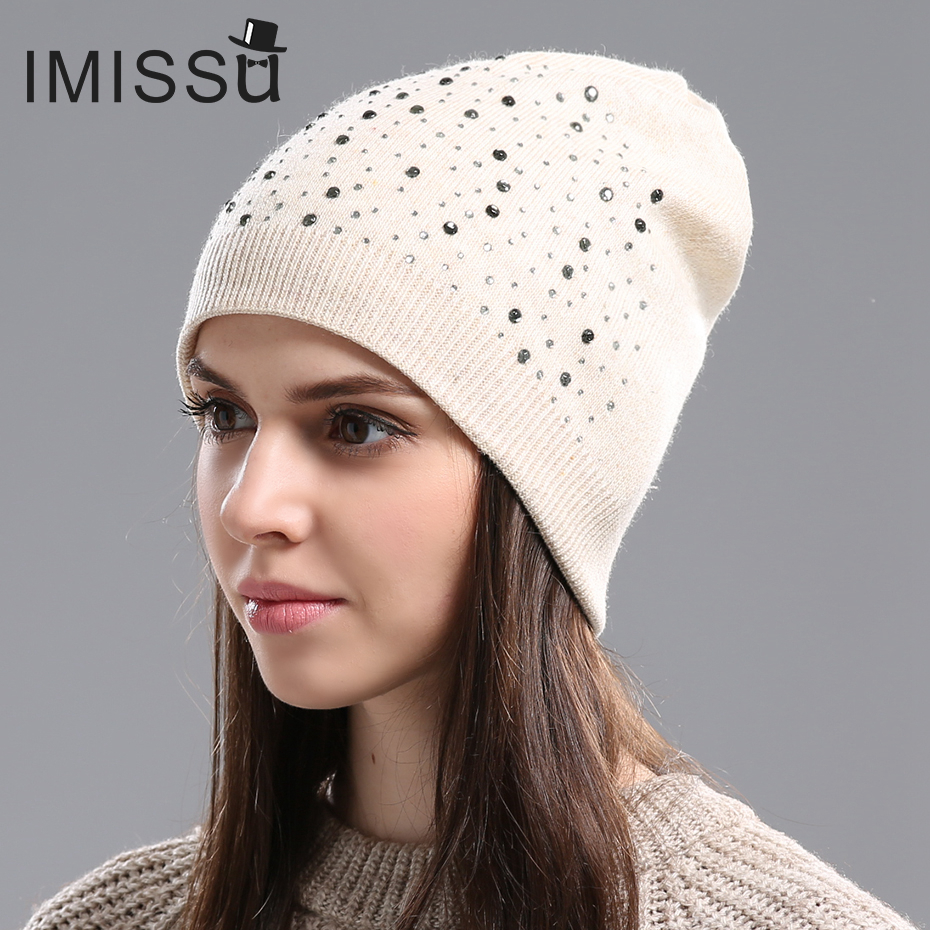 IMISSU Autumn Winter Beanie Hat Womens Knitted Wool Skullies with Crystal Casual Cap Solid Color Winter Hats for WomenОдежда и ак�е��уары<br><br><br>Aliexpress