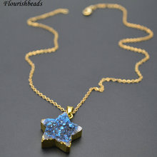 Blue Color Natural Druzy Agate Star Shape Stone Pendant Linked Chains Necklace Fashion Woman Party Jewelry