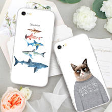 Phone Cases for iPhone 7 7 Plus Cute Animals Mr.cat Shark Fishes Shell Back Case Cover For iphone 6 6s Plus With Free Straps(China)