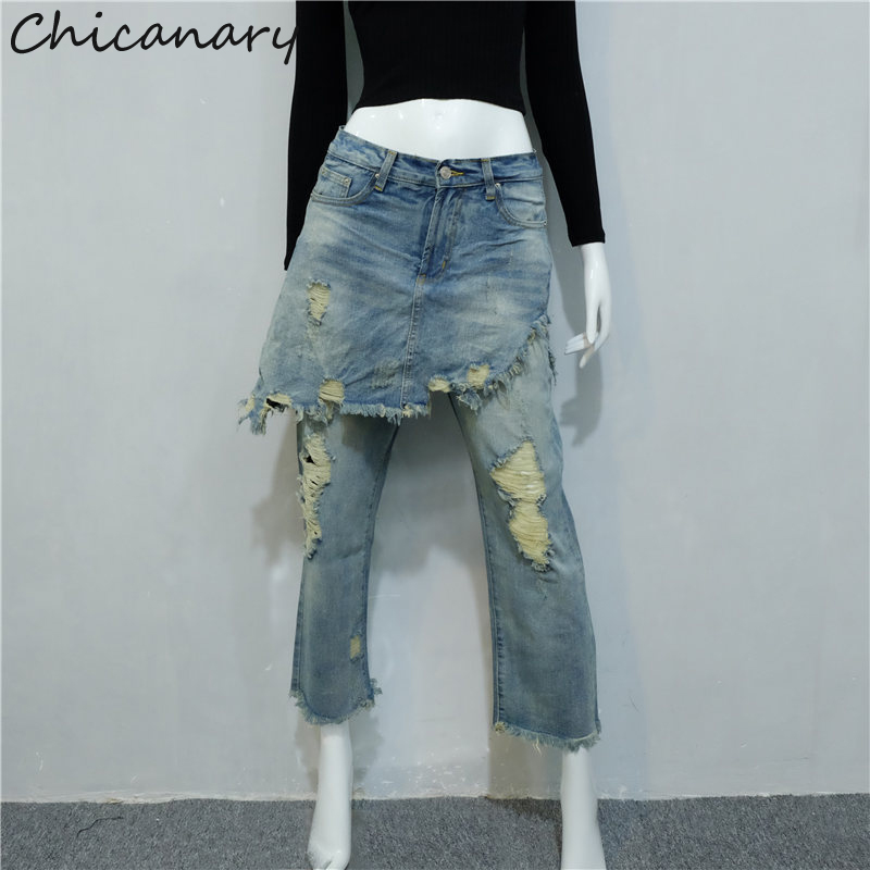 Blue Jeans Pants Women Hole Vintage High Waist Ripped Jeans For Women Fake 2 Pieces Vaqueros Mujer Female DenimsОдежда и ак�е��уары<br><br><br>Aliexpress