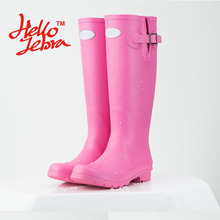 Women Tall Rain Boots Ladies Low Heels Waterproof Welly Boots Solid Buckle High Style Nubuck Rainboots 2016 New Fashion Design(China)