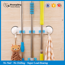 wall mounted broom holder bathroom plastic holder suction cup mop holder(China)