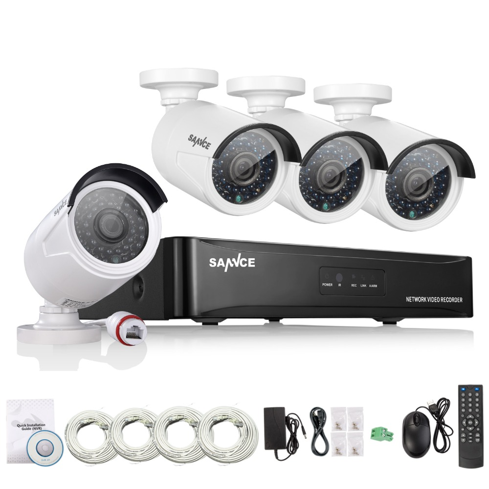 SANNCE 4CH NVR 960P IP Network PoE Video Record IR Outdoor CCTV Security Camera System Home video Surveillance kit(China (Mainland))