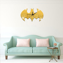 Bat Shape 45*25CM Wall Clock Acrylic Mirror 3D Clocks Home Decoration Europe Design DIY Clock Wall Art Kids Room Decor
