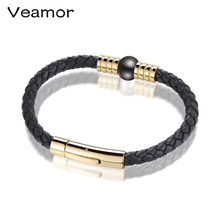 VEAMOR Womens Mens Bracelet Black 1 Strands Rope Handmade Leather Friendship Wristband Pearl Charm Surfer Real Pearl Bracelet(China)