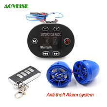 Motorcycle Radio Audio Sound Anti-theft Alarm system, 12V Mp3 Stereo Audio Motorcycle Speaker (Blue)