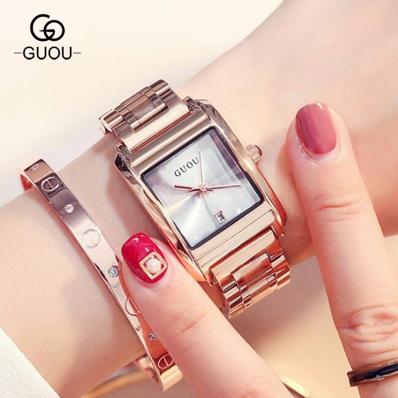 GUOU Watch Fashion Stainelss Steel Ladies Watch Women Watches Luxury Womens Watches Clock Women relogio feminino 8089<br>