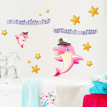 Children Theme Creative Home Decoration Wall Stickers Lovely Dolphin And Musical Note Window Decals Children Bedroom Wallpaper