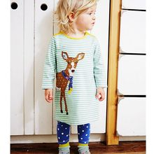 Sun Moon Kids Girl Dresses Casual Deer Appliques Green White Striped Dress Girl Cotton Long Sleeve Summer Dress Girl