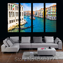 Modern Canvas Painting 4 Pieces Wall Art Italy Venice Landscape Oil Painting Beautiful City River Decorative Picture Home Decor(China)