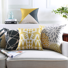 Minimalist Geometric Flower Cushion Covers Black and Yellow Pillow Covers Good Quality Linen Cotton Bedroom Sofa Decoration