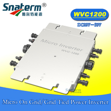 MPPT WVC 1200W 22-50VDC 110VAC 220VAC micro grid tied inverter IP67 Power line carrier-current communication grid tie converter(China)