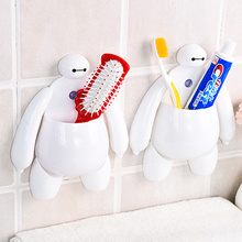 2pcs High quality  cartoon suction wall shelving toothpaste comb toothbrush holder bathroom products,Creative bathroom Sets.