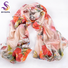 [BYSIFA] Women Silk Scarf Brand Accessories Spring Autumn Winter Peony Pattern 100% Silk Beige Red Ladies Long Scarves Wraps