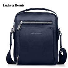 LUCKYER BEAUTY Genuine Leather Designer Men's Shoulder Bag Luxury Bags Crossbody Bags For Men Casual Handbags High Quality