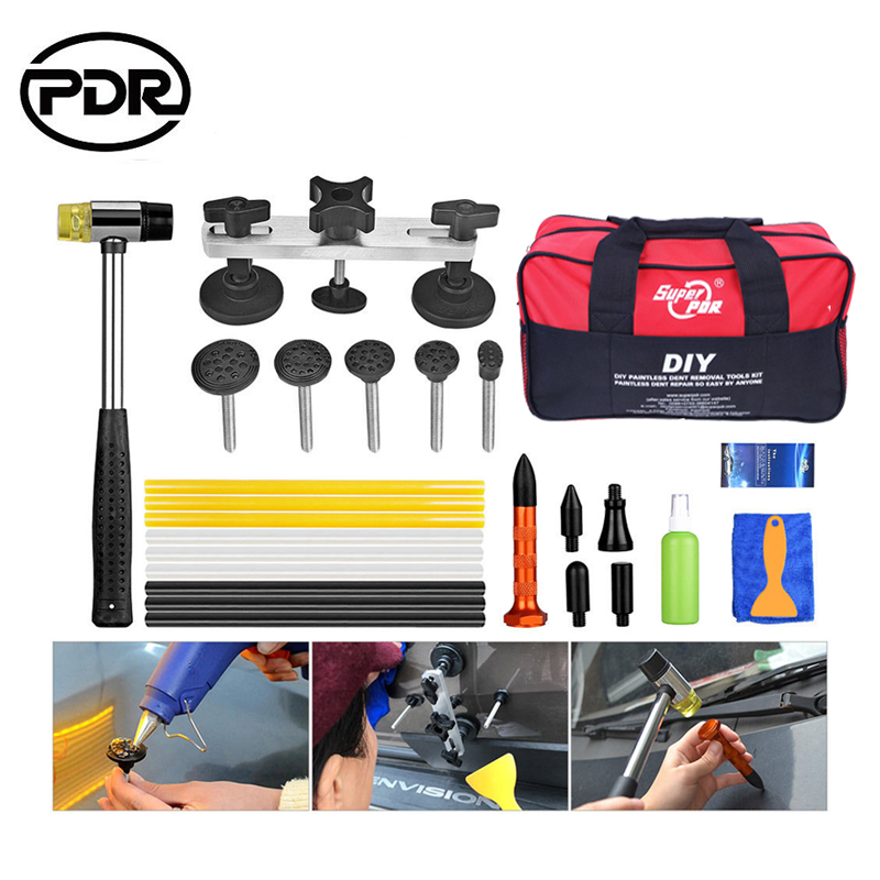 PDR Tools Car Dent Repair Tool To Remove Dents Auto Repair Tool Set Car Body Repair Dent Puller Kit Pulling Bridge EU Glue Gun<br>
